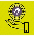 hand and bird purple isolated icon design vector image
