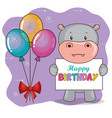 happy birthday card with cute hippo vector image vector image