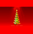 happy new year christmas tree tape golden design vector image