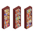 isometric bookshelf isolated vintage 3d flat vector image vector image