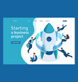 isometric start up a business project businessmen vector image vector image
