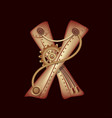 letter x of mechanic alphabet steampunk font vector image vector image