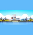 manufacturing factory buildings near river or sea vector image vector image