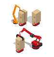 manufacturing process of boxes vector image vector image