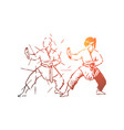 martial arts fight combat training concept vector image
