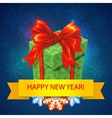 merry christmas gift box with bows and vector image vector image