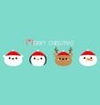 merry christmas white polar bear penguin deer vector image vector image