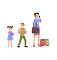 mother shopping with kids vector image vector image
