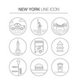 new york thin line icon set vector image vector image