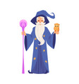 old wizard man in robe and hat stands holding vector image vector image