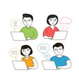 people work on laptop on internet office work vector image vector image