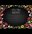 pizza ingredients chalkboard background vector image