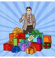 Pop Art Man with Gift Boxes and Champagne Glass vector image