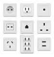 realistic detailed 3d white blank socket and vector image