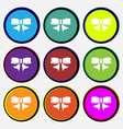 Ribbon Bow icon sign Nine multi colored round vector image