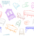 rococo furniture pattern vector image vector image