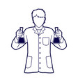 scientist with flask chemical outline vector image vector image