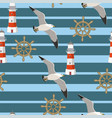 seamless pattern with seagulls flying vector image