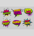 set comic text speech bubble pop art vector image