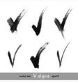 set hand drawn v signs vector image