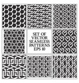 set of monochrome seamless patterns swatches of vector image vector image