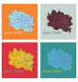 set of new delhi map flat style design vector image vector image