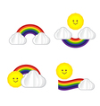 Set of sun cloud rainbow sun icon isolated on vector image