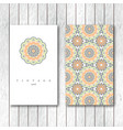 set of two ornamental floral mandala cards vector image vector image