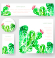 set watercolor cactus tags and banners vector image