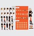 set with lovely woman character constructor head vector image vector image