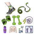 sport and fitness set icons in cartoon style big vector image vector image