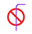 stop plastic straw tube ban symbol ocean vector image vector image