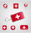 switzerland country flag on keychain and map pin vector image vector image