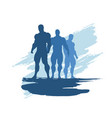 the set of 3 body building silhouette vector image vector image