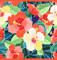 tropical colorful hibiscus pattern vector image vector image