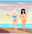 two young woman on beach vector image