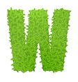 Uppecase letter W consisting of green leaves vector image vector image