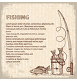 Vintage image of Fishing rod and fishes drawing vector image
