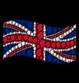 waving uk flag collage of woman profile items vector image