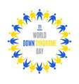 world down syndrome day emblem circle frame vector image