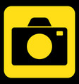 yellow black information sign - camera icon vector image vector image