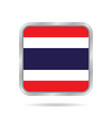 flag of thailand metallic gray square button vector image