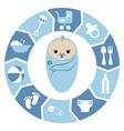 Baby boy shower cartoon design vector image vector image