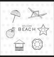 beach icon set design vector image vector image
