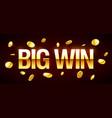 big win gambling games banner with big win vector image
