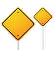 blank orange roadsigns with empty space on metal vector image