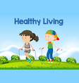 boy and girl rope jumping vector image vector image