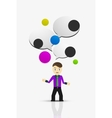Cartoon businessman with message cloud thinking vector image