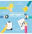 contribute contribution hand give money help work vector image