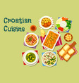 croatian cuisine lunch icon with seafood and meat vector image vector image